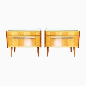 Tables de Chevet en Contreplaqué d'Érable, années 60, Set de 2