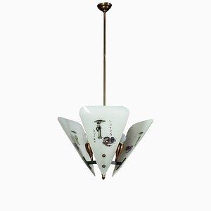 Lampada da soffitto in vetro satinato e metallo, anni '60