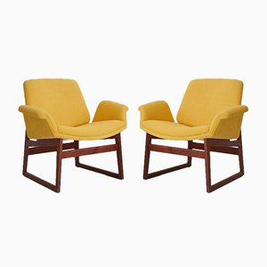 Wooden and Yellow Covered Armchairs by Illum Wikkelsø for Arflex, 1960s, Set of 2