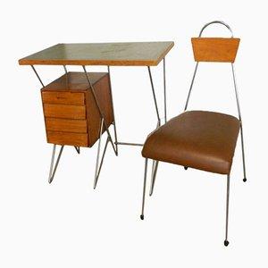 Juego de escritorio y silla italiano, años 50