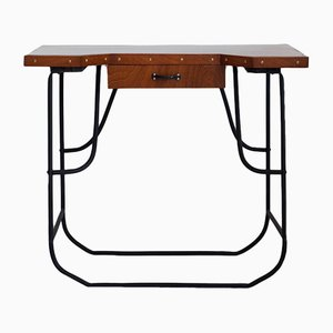 Steel and Mahogany Desk or Console Table, 1930s