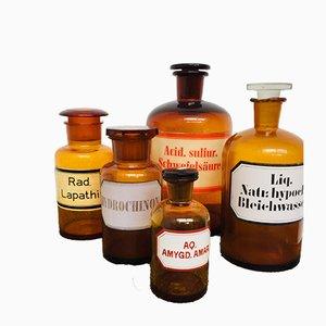 Juego de farmacia alemán vintage de vidrio, años 20
