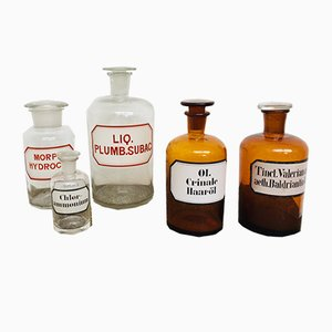 Vintage German Pharmacy Glass Set, 1920s