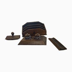 Antikes Schreibtischset aus Leder, 6er Set