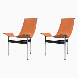 Cognac Leather T-Chairs by Katavolos, Kelley, and Littell, 1970s, Set of 2