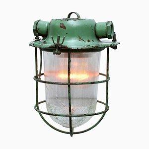 Industrielle Deckenlampe aus grünem Metall, 1950er