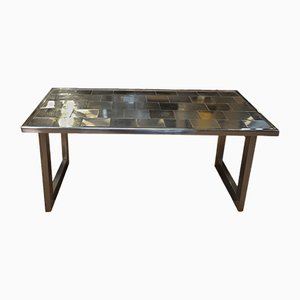 Mesa de centro vintage de acero y madera, años 70