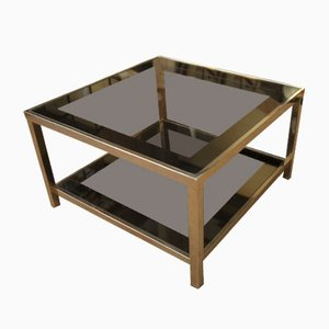 Vintage Smoked Glass and Metal Coffee Table from Belgochrom, 1970s