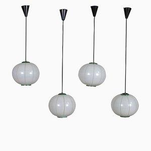 Silk Screened Ceiling Lamps, 1960s, Set of 4