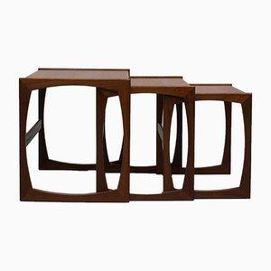 Mesas nido Quadrille de teca de G-Plan, años 60. Juego de 3