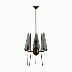Deckenlampe aus Plexiglas & Messing, 1960er