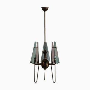 Lampada da soffitto in plexiglas e ottone, anni '60