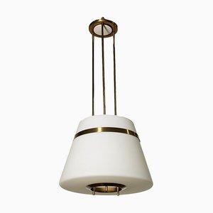 Lampada da soffitto in vetro opalino e ottone, anni '60