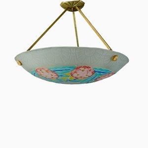 Lampada da soffitto Art Déco in vetro smaltato di Loys Lucha, anni '30