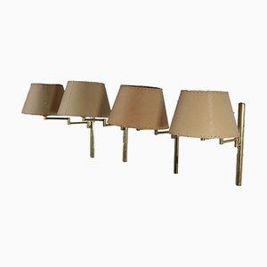 Brass Wall Lights, 1960s, Set of 4