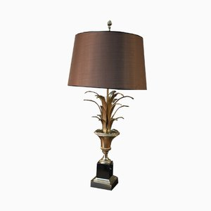 Bronze, Gilded Metal, and Black Marble Palm Tree Table Lamp, 1970s