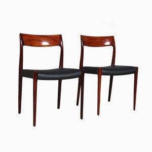 Chaises de Salle à Manger Modèle 77 en Palissandre par Niels Otto Møller pour JL Møllers, années 70, Set de 2