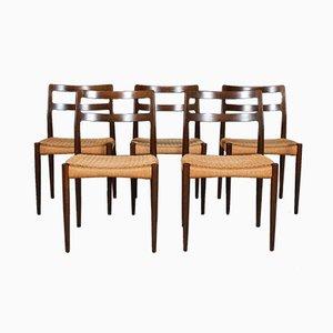 Chaises de Salle à Manger Anna en Chêne Fumé et Corde de Papier par Johannes Andersen pour Uldum Møbelfabrik, années 60, Set de 5