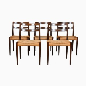 Smoked Oak and Paper Cord Anna Dining Chairs by Johannes Andersen for Uldum Møbelfabrik, 1960s, Set of 5