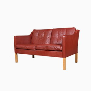 Red Leather and Oak 2-Seater Sofa by Børge Mogensen for Fredericia, 1960s