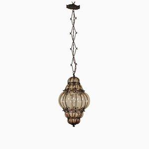 Vintage Iron and Glass Hanging Lantern