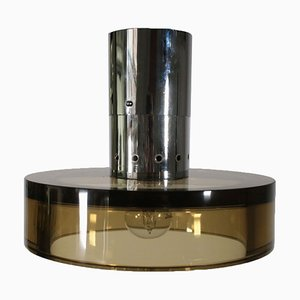 Metal and Glass Ceiling Lamp from Seguso, 1960s