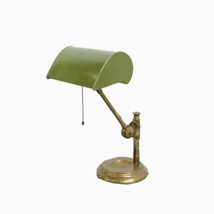 Antique English Bankers Table Lamp, 1910s