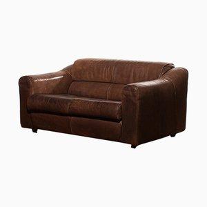 Vintage Buffalo Leather Two-Seat Sofa, 1960s