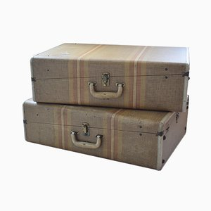Tweed Hard Shell Suitcase Trunks, 1950s, Set of 2