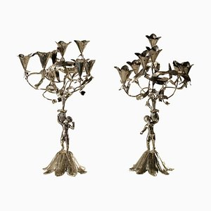 Silberne Vintage Kerzenständer von Martignetti Lorenzo, 2er Set