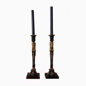 Antike Kerzenhalter aus vergoldeter Bronze, 2er Set