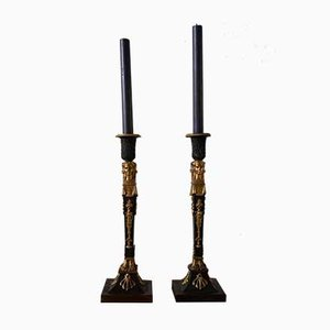 Antique Gilded Bronze Candleholders, Set of 2