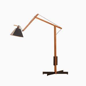 Schwarz lackierte schwedische Stehlampe aus Teak von Luxus, 1950er