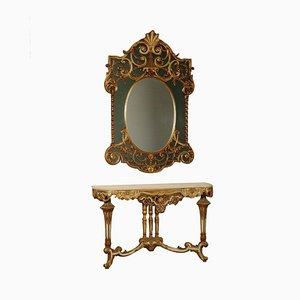 Lackierter Vintage Konsolentisch mit Spiegel