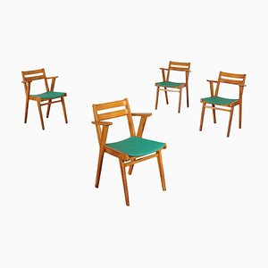 Beech and Skai Side Chairs, 1950s, Set of 4