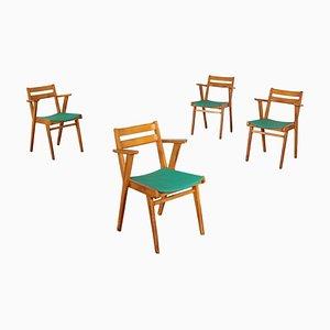Chaises d'Appoint en Hêtre et Skaï, années 50, Set de 4