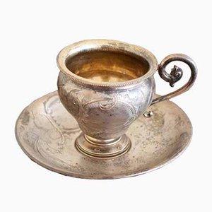 Antikes Set aus Tasse & Untertasse aus Silber