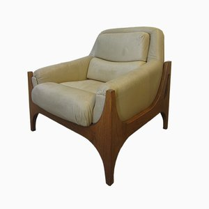 Mid-Century Scandinavian Cream Leather Armchair