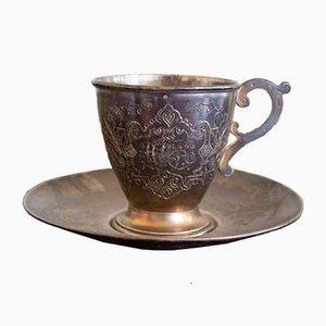 Juego de vasos y platillo antiguo de plata