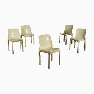 Mid-Century Selene Stühle von Vico Magistretti für Artemide, 5er Set
