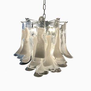 Lámpara colgante de cristal de Murano blanco, años 50