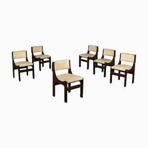 Rosewood and Leatherette Side Chairs, 1960s, Set of 6