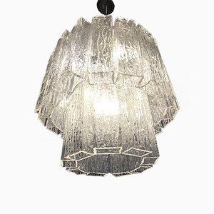 Lámpara de araña de cristal de Murano con efecto hielo, años 60