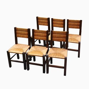 Rustic Side Chairs, 1950s, Set of 6