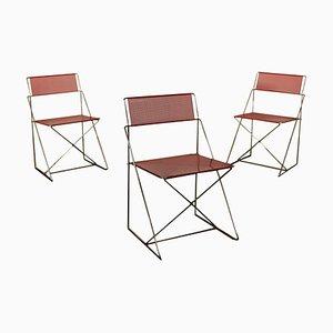 Chaises d'Appoint X-Line Vintage en Métal par Niels Jørgen Haugesen pour Hybodan, Set de 3