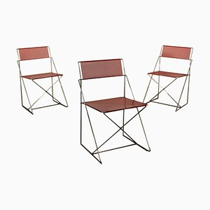 Vintage X-Line Metal Side Chairs by Niels Jørgen Haugesen for Hybodan, Set of 3