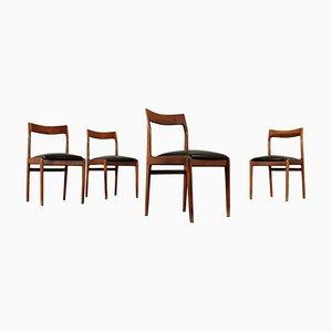 Mid-Century Esszimmerstühle aus gebeizter Buche, 4er Set