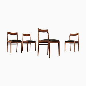 Mid-Century Stained Beech Dining Chairs, Set of 4