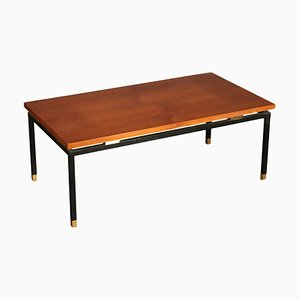 Teak Veneer and Metal Coffee Table, 1960s