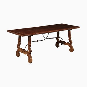 Antique Italian Walnut and Iron Refectory Table